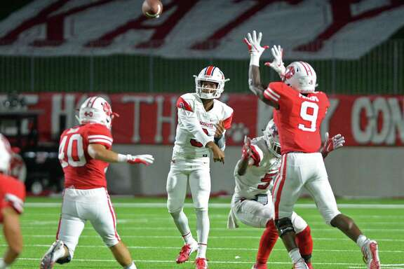 Brice Matthews (3) of Atascocita delivers a pass in the third quarter of a high school football game between the Katy Tigers and the Atascocita Eagles last season at Legacy Stadium, in Katy.