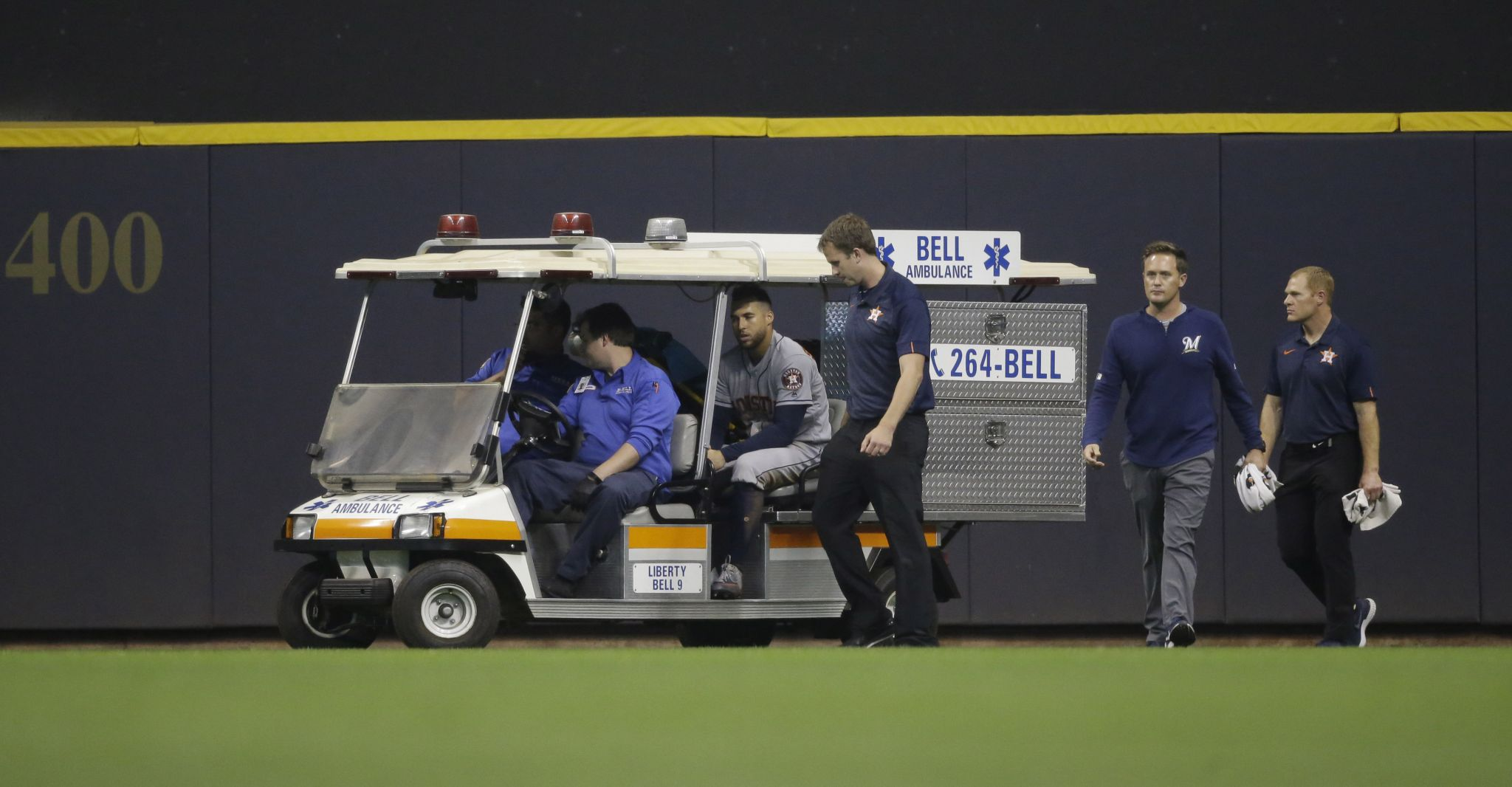 CT's George Springer carted off field after violent injury in Astros-Brewers game