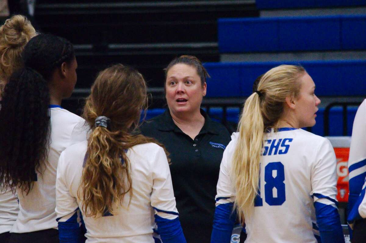 Clear Springs' volleyball coach Shannon McClellen speaks to her team during a break against Katy Taylor Tuesday, Sep. 3 at Clear Springs High School.