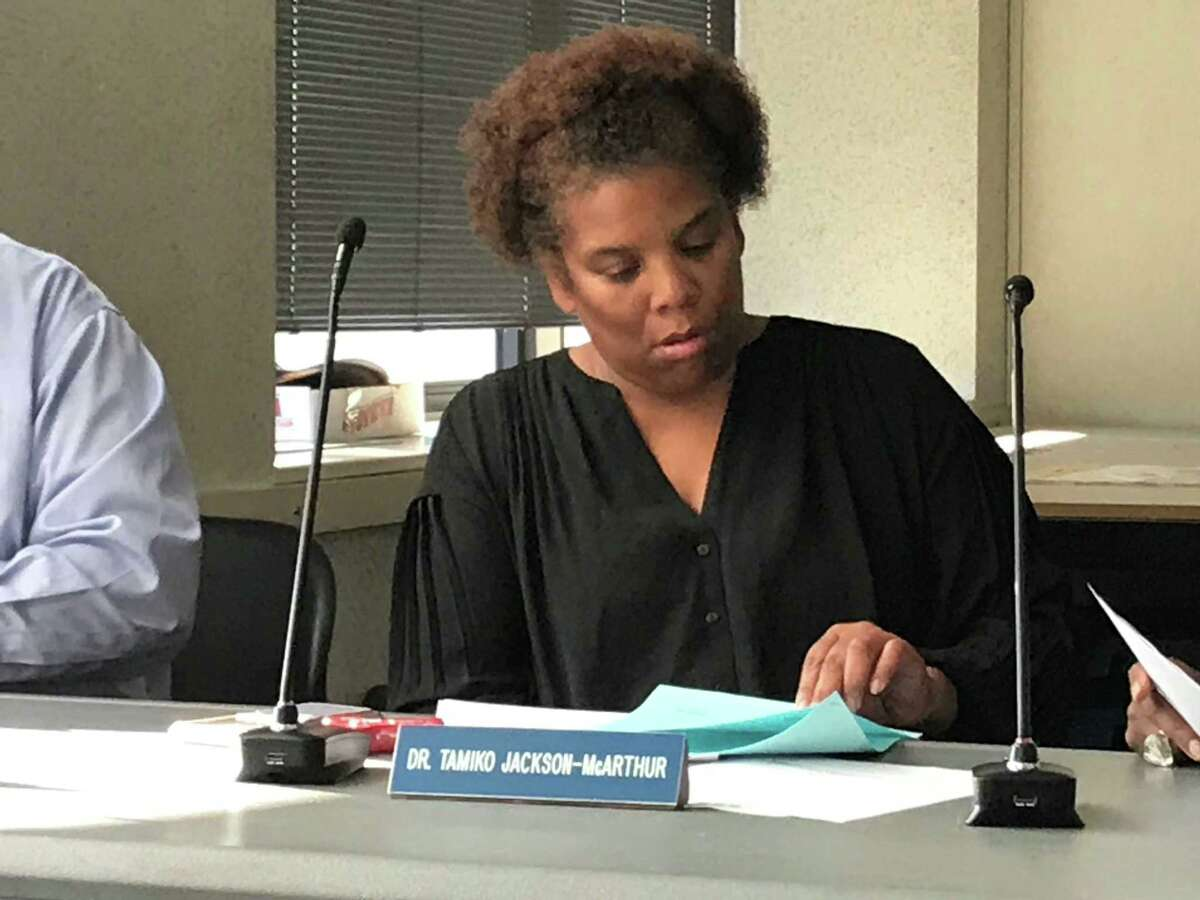 New Haven Board of Education member Tamiko Jackson-McArthur at a Sept. 3, 2019 Board of Education Finance and Operations Committee meeting.