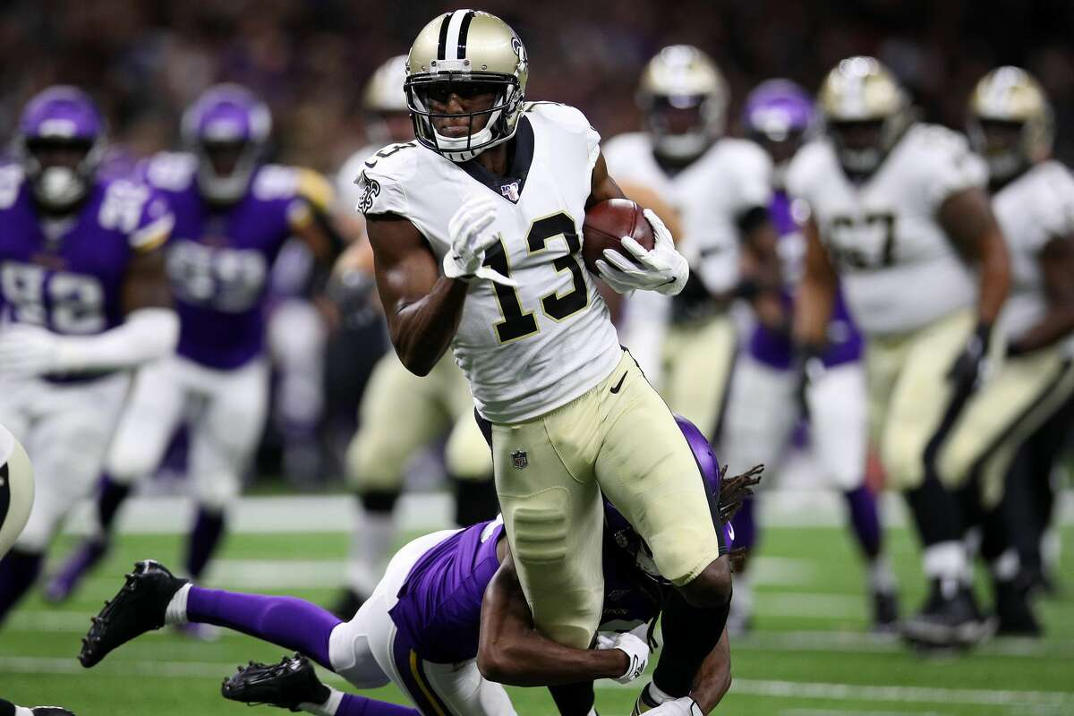 PHOTOS: Houston Texans players' contract for 2019 season  NEW ORLEANS, LOUISIANA - AUGUST 09: Michael Thomas #13 of the New Orleans Saints runs with the ball against the Minnesota Vikings during a preseason game at the Mercedes Benz Superdome on August 09, 2019 in New Orleans, Louisiana. (Photo by Chris Graythen/Getty Images) >>>Browse through the gallery for a look at the salaries and contracts for each Houston Texans player on the 2019 roster ...