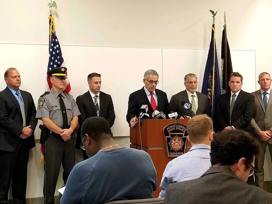 Philadelphia District Attorney Larry Krasner and Pennsylvania State Police announce the arrest of Theodore Donahue on Tuesday, Sept 3, 2019. Photo: Philadelphia DA's Office