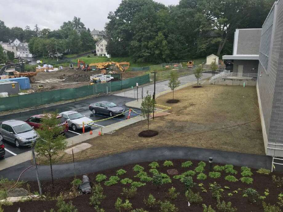 The landscaping on the north end of the new New Lebanon School. Photo: Contributed /