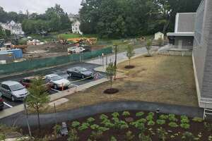 The landscaping on the north end of the new New Lebanon School, taken on Thursday, the start of school for Greenwich Public Schools. Through September, officials expect the playground to be installed and sod to be replaced. Also in the coming weeks, officials plan for the installation of landscaping and fencing, planting and the reconstruction of the ballfield.