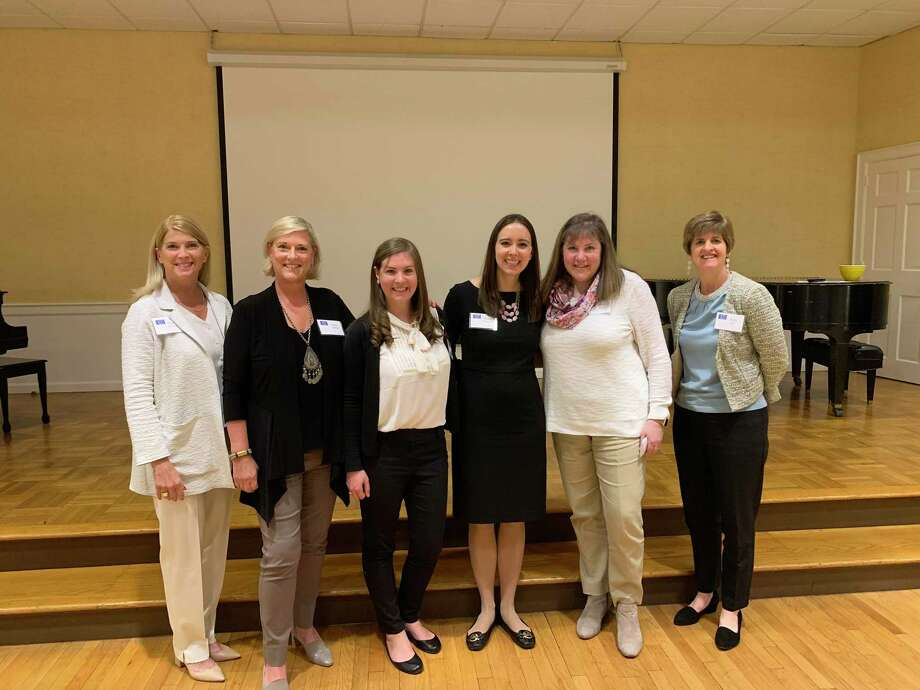 100 Who Care founders First Selectman Jayme Stevenson, left, Lulu McPhee, Katie Flynn, Sarah Paquet, Mary Flynn, and Amy Bell. Photo: Contributed