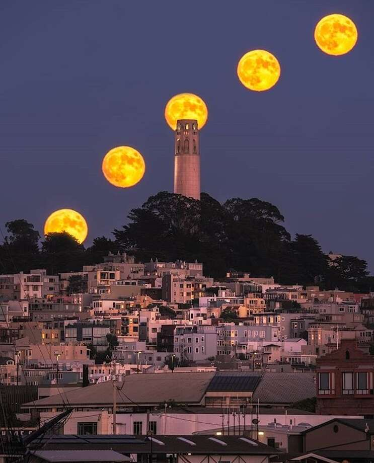 A timelapse photo of August's full moon over Coit Tower by @bearded4glory Photo: Instagram / Bearded4glory