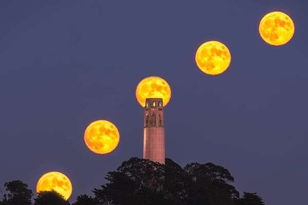 A timelapse photo of August's full moon over Coit Tower by @bearded4glory