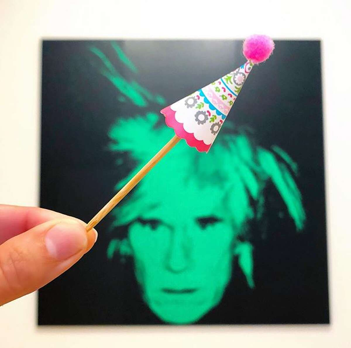 @jacolynmurphydesigns wishes Andy Warhol a happy birthday during his exhibit at the SFMOMA.