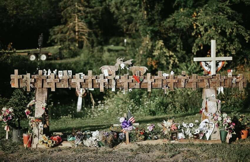 Katie Ventura Photography took images of the temporary memorial at the site of the Schoharie limo crash before the wooden memorial was removed and donated to the State Museum in Albany on Sept. 3, 2019. A permanent memorial will be built and unveiled around the one-year anniversary of the crash in October 2019. The limo crash resulted in the deaths of 20 people, and was America's most deadly transportation crash in nearly a decade.