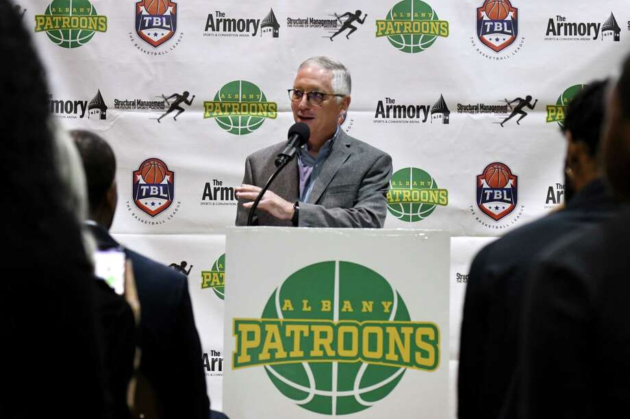 Albany Patroons new owner, Schenectady chiropractor Tim Maggs, speaks during a media event on Wednesday, Sept. 4, 2019, at the Washington Avenue Armory in Albany, N.Y. (Will Waldron/Times Union) Photo: Will Waldron, Albany Times Union / 40047748A