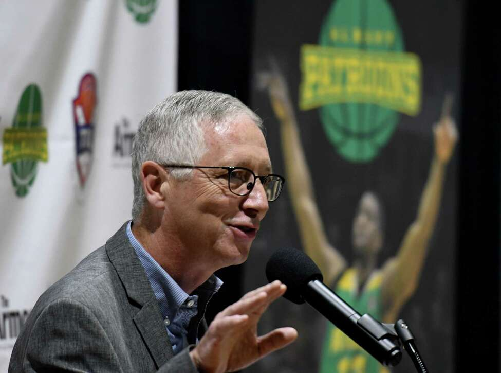 Albany Patroons new owner, Schenectady chiropractor Tim Maggs, speaks during a media event on Wednesday, Sept. 4, 2019, at the Washington Avenue Armory in Albany, N.Y. (Will Waldron/Times Union)