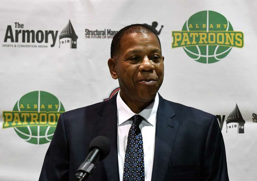 Albany Patroons head coach Derrick Rowland speaks during a media event to introduce Schenectady chiropractor Tim Maggs as the team's new owner on Wednesday, Sept. 4, 2019, at the Washington Avenue Armory in Albany, N.Y. (Will Waldron/Times Union)