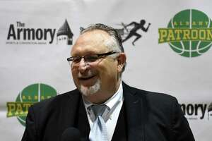 Dave Magley, president of The Basketball League, speaks during a media event to introduce Schenectady chiropractor Tim Maggs as the new owner of the Albany Patroons on Wednesday, Sept. 4, 2019, at the Washington Avenue Armory in Albany, N.Y. (Will Waldron/Times Union)