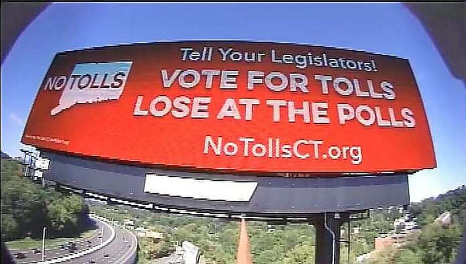 No Tolls CT, a grassroots opposition group to Connecticut highway tolls, has paid for billboards on interstates 91, 84 and 95. Photo: No Tolls CT / Contributed Photo