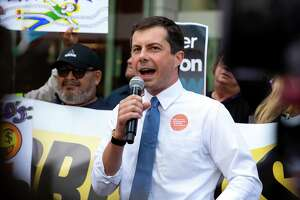 Presidential candidate Pete Buttigieg speaks during a protest outside of Uber's Headquarters on Market Street in San Francisco, Calif. on Tuesday, August 27, 2019. Buttigieg will be a guest at a Greenwich fundraiser for his presidential campaign this week.
