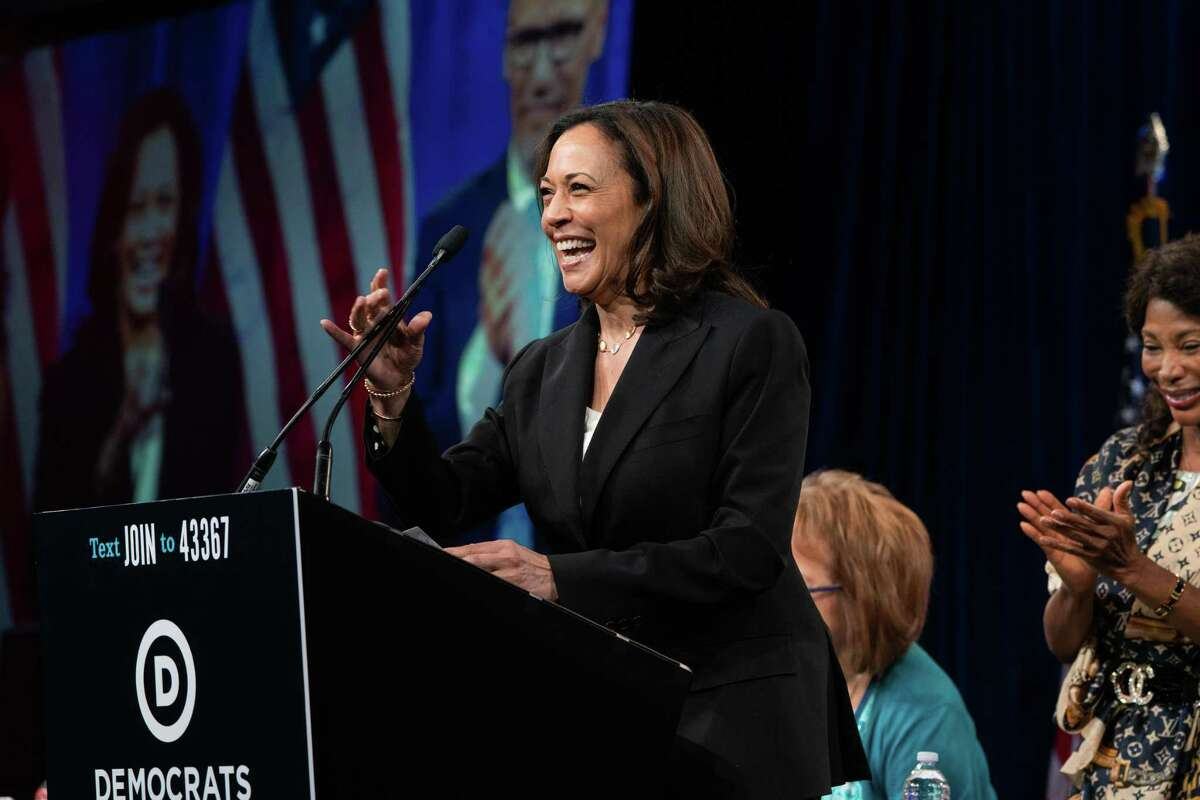 Sen. Kamala Harris speaks at the Democratic National Committee Summer Meeting at the Hilton Union Square Hotel in San Francisco, Calif., on Friday, August 23, 2019. This month she will be hosted in Greenwich for a funraiser for her presidential campaign.