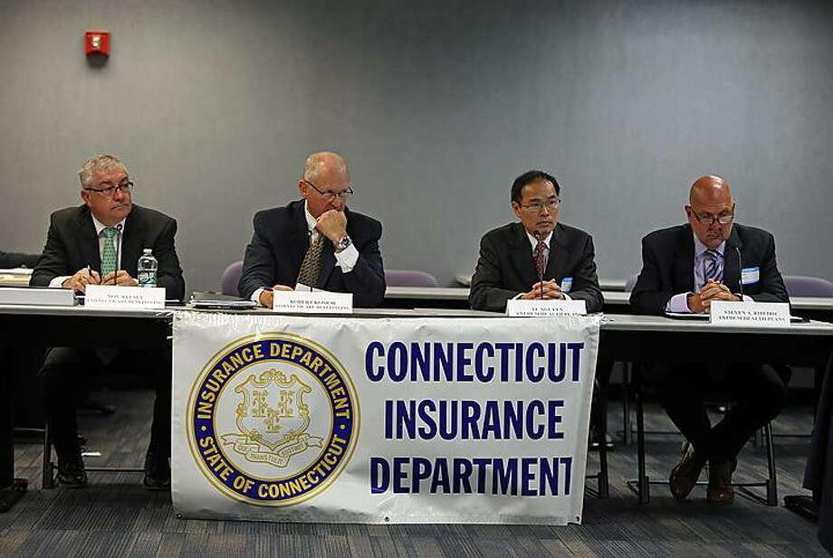 From left, Neil Kelsey and Robert Kosior, of ConnectiCare, and Ty Nguyen and Steven Ribeiro, of Anthem. Photo: Christine Stuart / CTNewsJunkie.com