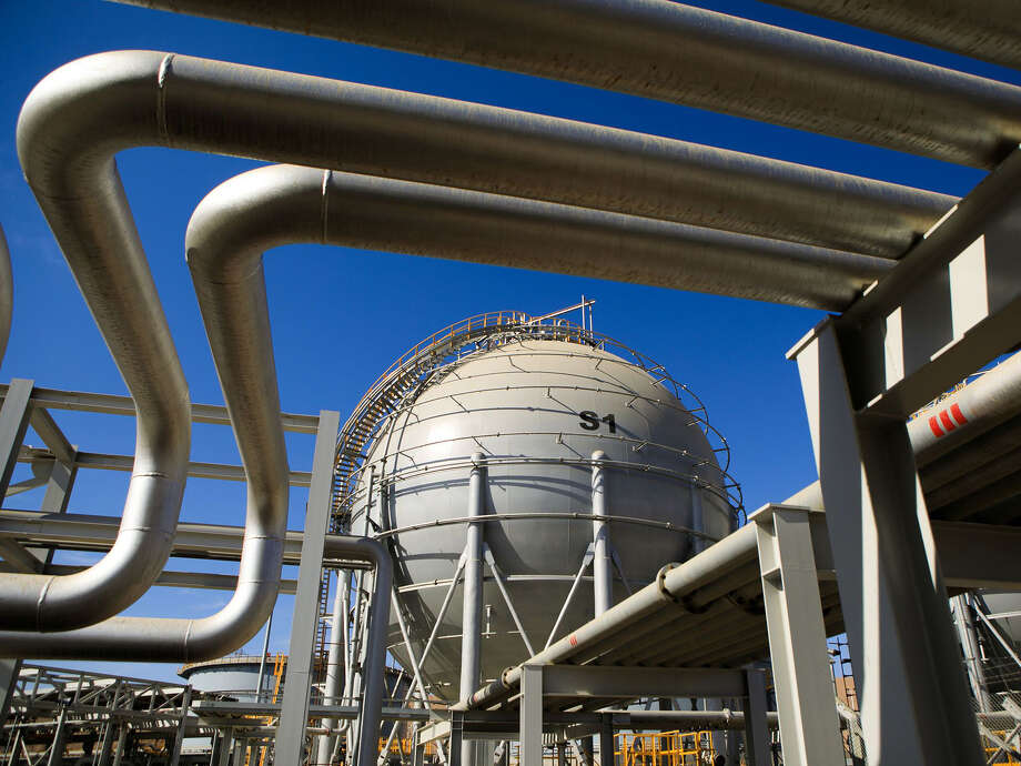 Storage sphere tanks for liquefied natural gas operated by Aqaba Development in Aqaba, Jordan. Photo: Bloomberg Photo By Annie Sakkab. / 2018 Bloomberg Finance LP