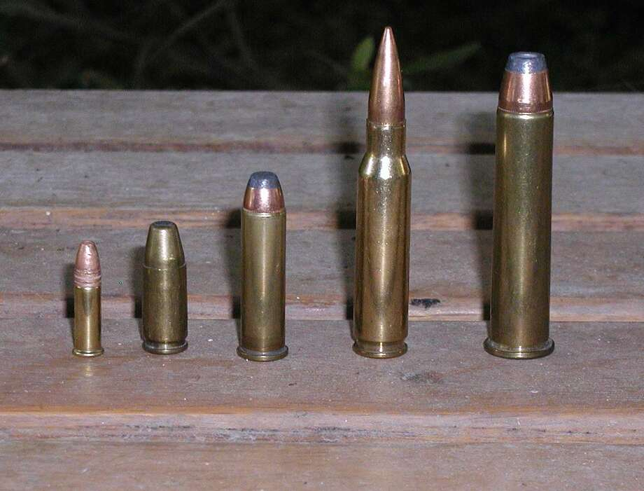 From left to right, .22 long rifle, 9mm Luger, .357 Magnum, .308 Winchester, 45/70 - Government. Photo: Larry J. LeBlanc