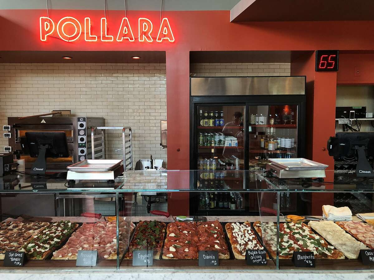 Pollara Pizzeria specializes in Roman-style pizza al taglio. Before the pandemic, the restaurant displayed all of its pizzas behind a glass counter, where customers could order custom-size slices.