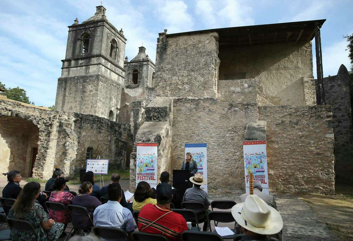 City of San Antonio World Heritage Office Director Colleen Swain addresses an audience as local and national parks officials kick off the 4th annual World Heritage Festival with a press conference at Mission Concepcion on Wednesday, Sept. 4, 2019. A series of events highlighting the San Antonio Missions runs through Sunday, including the public release of a commemorate quarter, an outdoor movie screening, a house-rehabilitation project, a bike ride and a pachanga or party on Saturday and a mariachi mass and procession from Mission Espada to Mission San Juan wrapping up on Sunday. (Kin Man Hui/San Antonio Express-News)