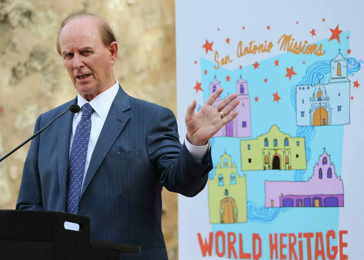 Bexar County Judge Nelson Wolff addresses guests as local and national parks officials kick off the 4th annual World Heritage Festival at Mission Concepcion on Wednesday, Sept. 4, 2019.
