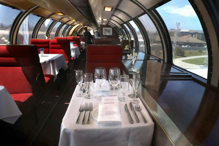 The Vista Dome car is the most expensive dining option on board the Wine Train. Photo: Liz Hafalia / The Chronicle