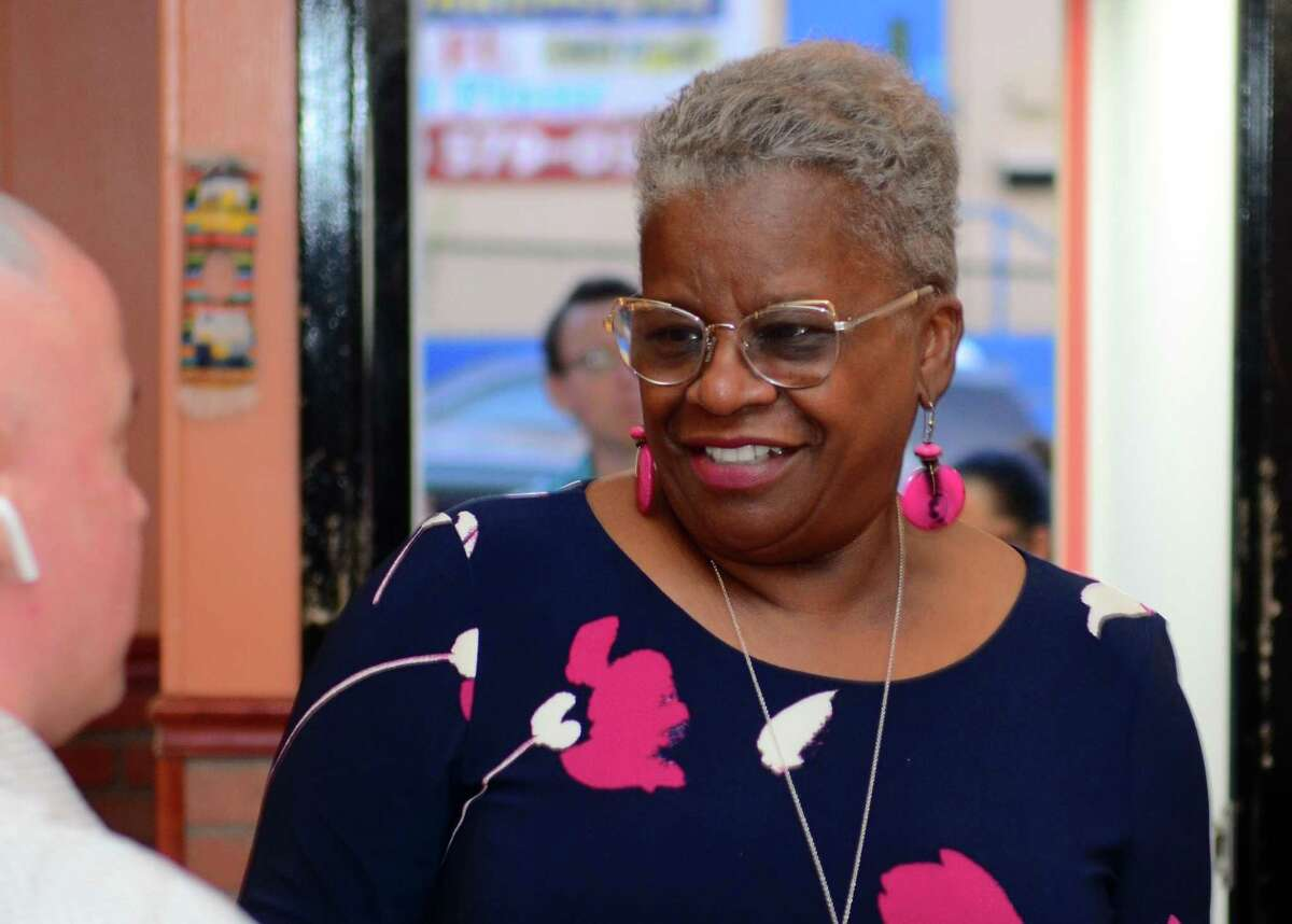 State Senator Marilyn Moore, who is running for mayor, holds a fundraiser at Coyote Flaco restaurant in Bridgeport, Conn., on Tuesday August 27, 2019.