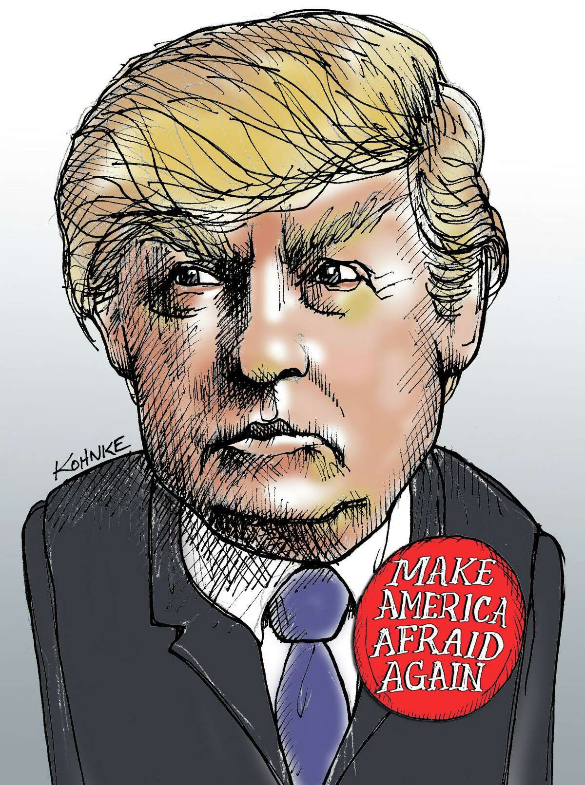 This artwork by Jennifer Kohnke refers to GOP candidate Donald Trumps promotion of fear in the country.