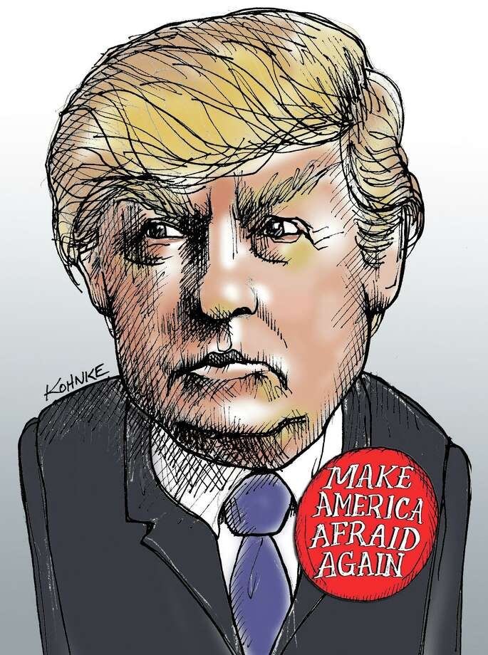This artwork by Jennifer Kohnke refers to GOP candidate Donald Trump's promotion of fear in the country. Photo: Tribune Content Agency / Jennifer Kohnke