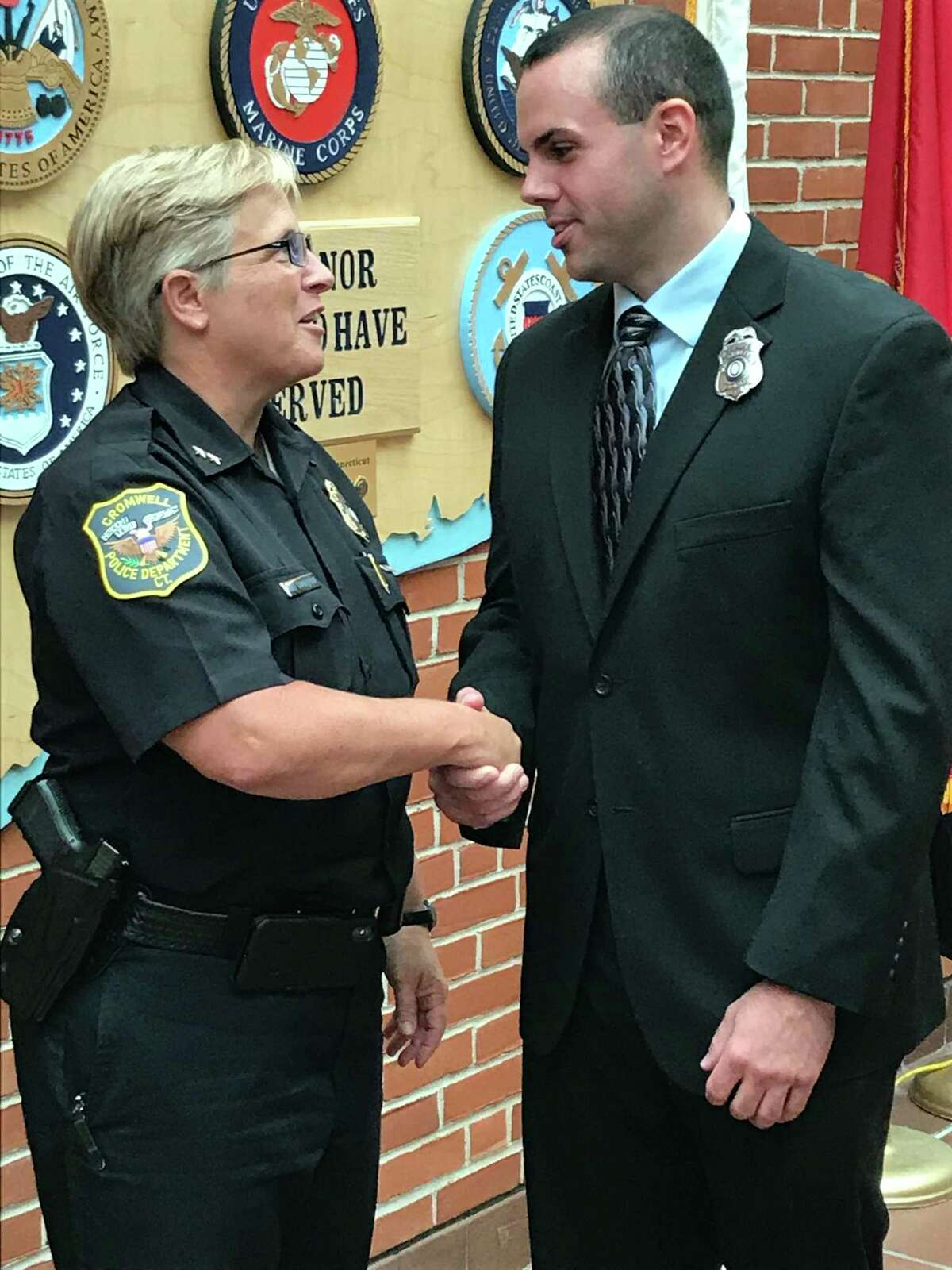 Police Chief Denise Lamontagne and Officer Coltin Jespersen