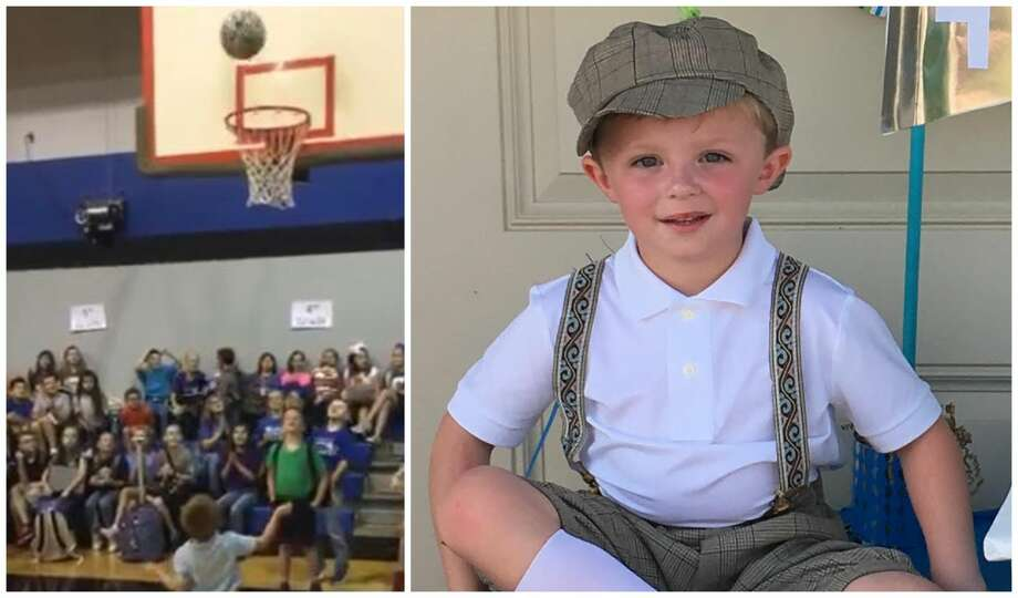 Five-year-old Chandler Newport was the talk of Covenant Christian School in Conroe last week after hundreds of students saw him showing off his basketball skills before class. Photo: Tammy Newport