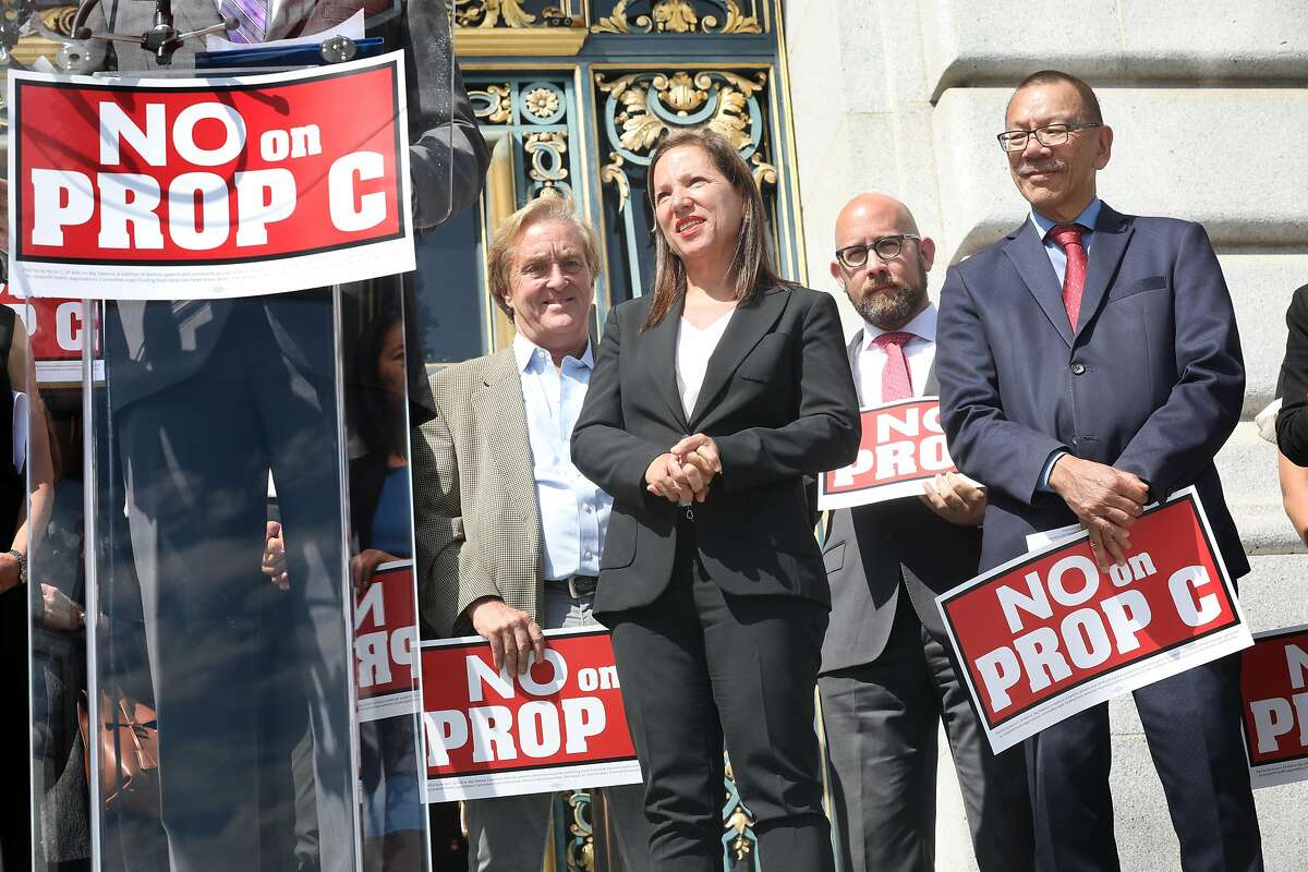 Lieutenant governor Eleni Kounalakis (middle) joins SF supervisors including president Norman Yee (right) of the SF board of supervisors in supporting SF Kids vs Big Tobacco, public health groups opposing Juul�s ballot initiative called No on C campaign as they kick-off an event outside City Hall on Wednesday, Sept. 4, 2019, in San Francisco, Calif.