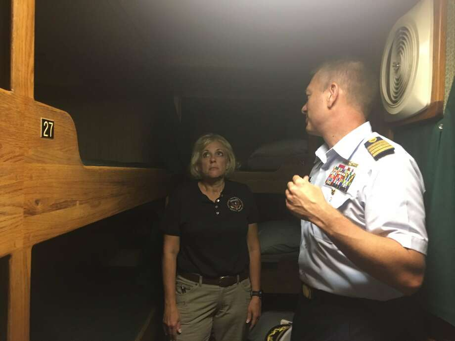 NTSB Board Member Jennifer Homendy and USCG Capt. Jason Neubauer tour the berthing area of small passenger vessel Vision, a similar vessel to Conception.  Photo: NTSB