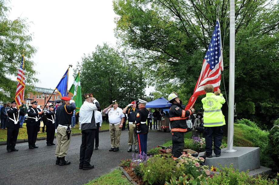 A ceremony to mark the 18th anniversary of 9/11 will be held Sept. 11 in New Milford. Above is a photograph from last year's ceremony. Photo: Carol Kaliff / Hearst Connecticut Media / The News-Times