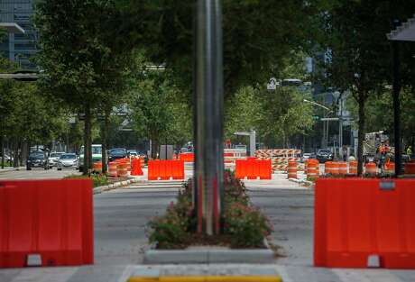 Officials said certain spots along the bus rapid transit lanes that run along Post Oak Boulevard in Uptown, seen July 17, 2019, are too narrow for buses to safely use them.