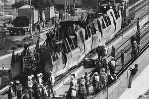 2 Fire-Damaged BART cars were just pulled out of the tube, where a fire hit.  The Transbay tube fire, January 18, 1979 Photo ran 01/191979, P. 1