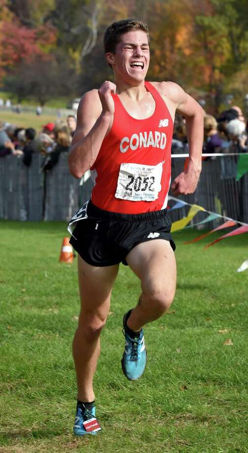 Gavin Sherry of Conard finishes second in the CIAC Boys Cross Country State Open Championship at Wickham Park in Manchester on November 1, 2018. Photo: Arnold Gold / Hearst Connecticut Media / New Haven Register