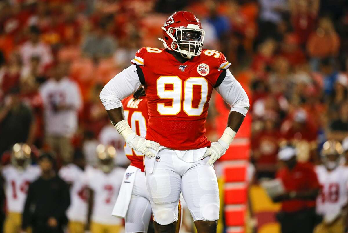 Chiefs Emmanuel Ogbah, a defensive end, spent three seasons with the Cleveland Browns before joining the Chiefs this year. The Nigeria native, who moved to Houston at age nine, suffered a season-ending torn pectoral muscle in Week 10.