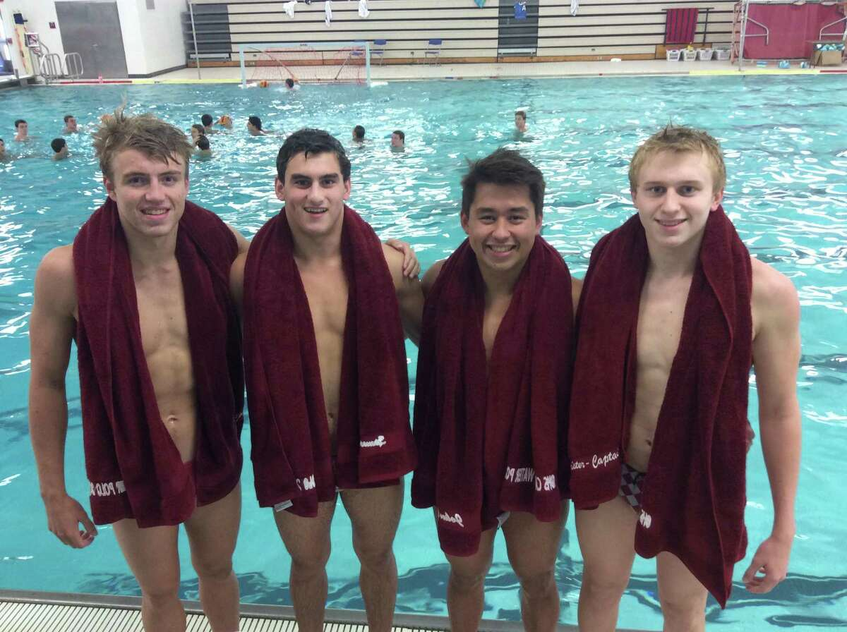 From left to right, seniors Charlie Clark, Spencer Plavoukos, John Caruso and Thomas Hoffmeister are captains of the Greenwich boys water polo team.
