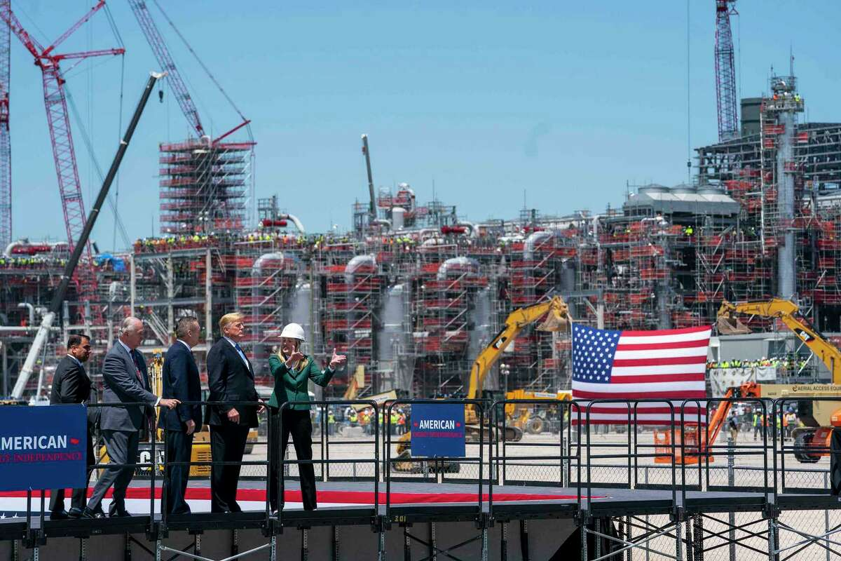 President Donald Trump tours Cameron LNG's liquefied natural gas terminal in Hackberry, La. in May. Governments in Europe and across the globe are coming under increasing pressure to buy American LNG from the Trump administration.