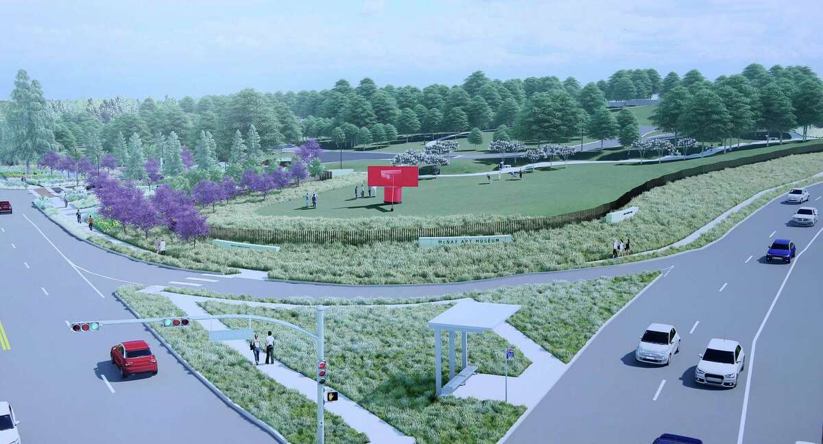 A drawing of the entrance to the grounds at the intersection of Austin Highway and North New Braunfels shows how the campus will be more accessible after Phase 1 of the new landscape master plan.