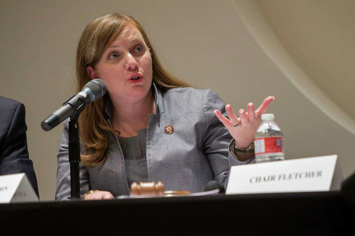U.S. Rep. Lizzie Fletcher, D-Houston, speaks at a House environment subcommittee field hearing at Houston Community College in Houston, Monday, July 22, 2019.