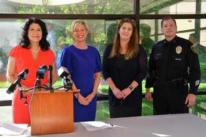 On Wednesday, Sept. 4, at the UTHealth Harris County Psychiatric Center, Texas Sen. Carol Alvarado (from left), Texas Rep. Sarah Davis, UTHealth Houston Pediatric Psychiatrist Elizabeth Newlin, MD, and Houston Police Department Assistant Chief Jim Jones pause for a photo after discussing Texas Senate Bill 20, which is set to provide $15 million in grants for helping child survivors of sex trafficking.