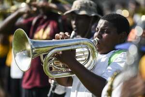 Martravin Sinegal of Beaumont United's band practices Tuesday afternoon. Beaumont will see temperatures in the high 90's through the weekend. Photo taken on Tuesday, 09/04/19. Ryan Welch/The Enterprise
