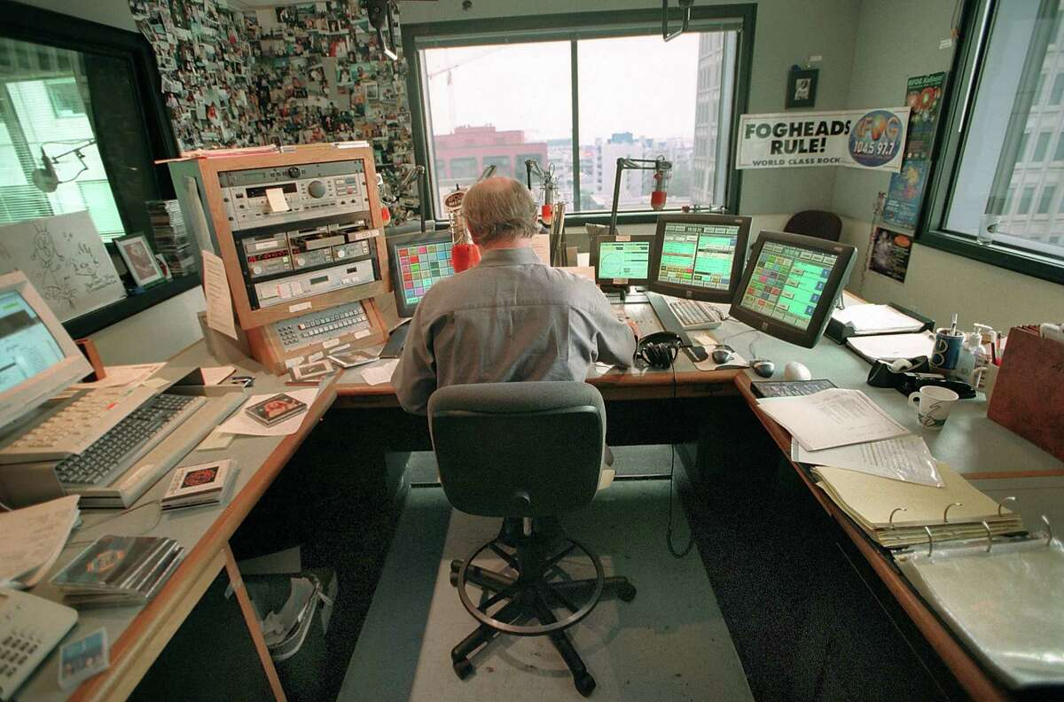 Longtime KFOG DJ Dave Morey at the station in 2001. KFOG signed off the air for the last time a few minutes past midnight Thursday, 2019. Here's what people are saying about its demise.