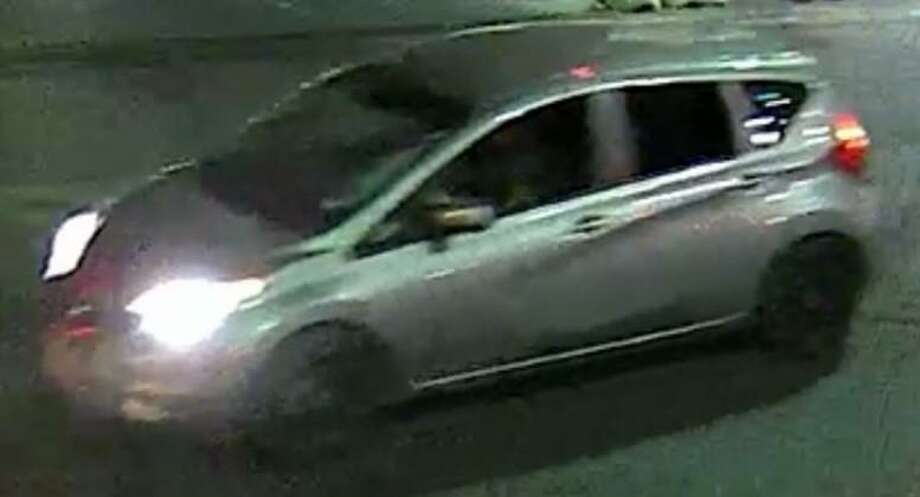 San Antonio Police are searching fro the driver of this hatchback, which they believe to be a Nissan Versa Note. The vehicle was involved in a hit and run at about 1 a.m. Aug. 7, 2019, in the 300 block of East Houston Street that left a man in his 20s with life-threatening injuries. Photo: Courtesy Crime Stoppers Of San Antonio /