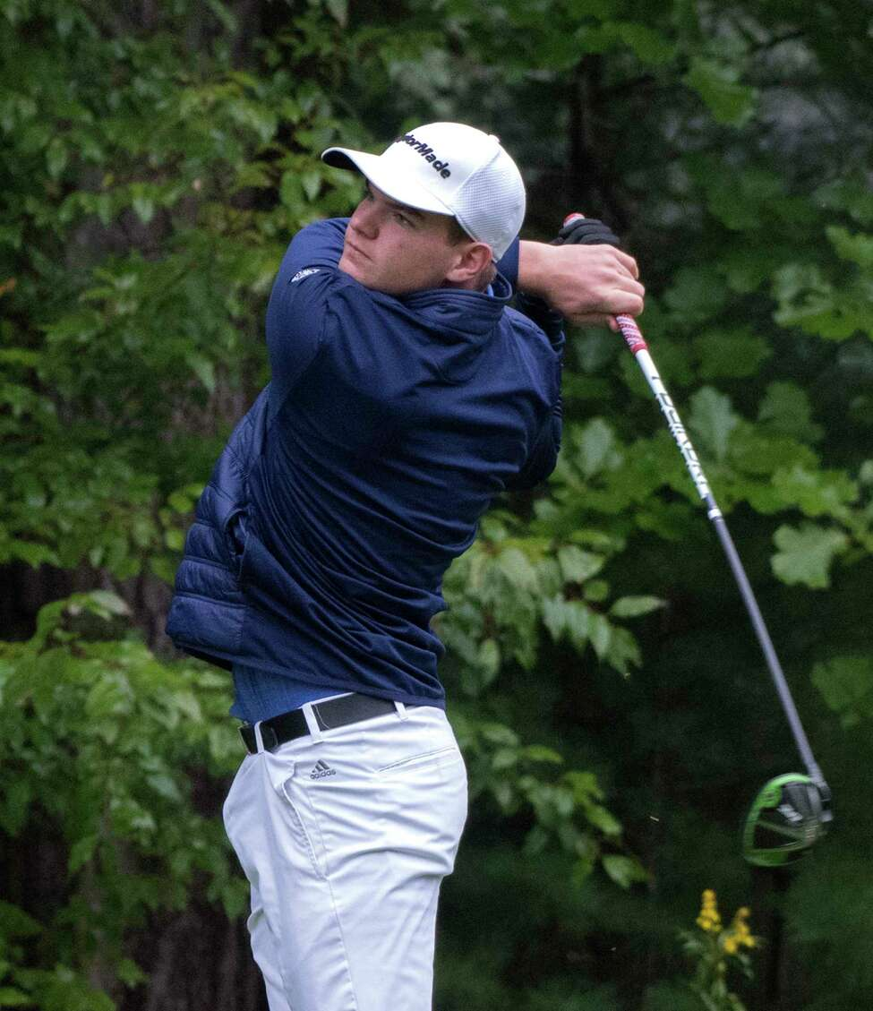 Ryan Bloomer of Hoosick Falls High School tees off in the Secton II Class B and C/D Golf Championships at McGregor Golf Club Tuesday Oct. 2, 2018 in Wilton, N.Y. (Skip Dickstein/Times Union)