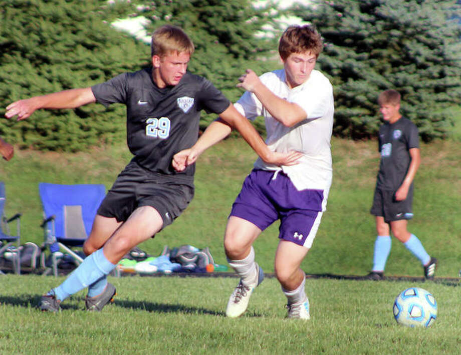 Jersey's Andrew Kribs (29) scored five goals Wednesday night in his team's 9-2 victory over Gillespie in the Carlinville Fall Kickoff Classic. Kribs is shown in action against Mascoutah. Photo: Pete Hayes | The Telegraph