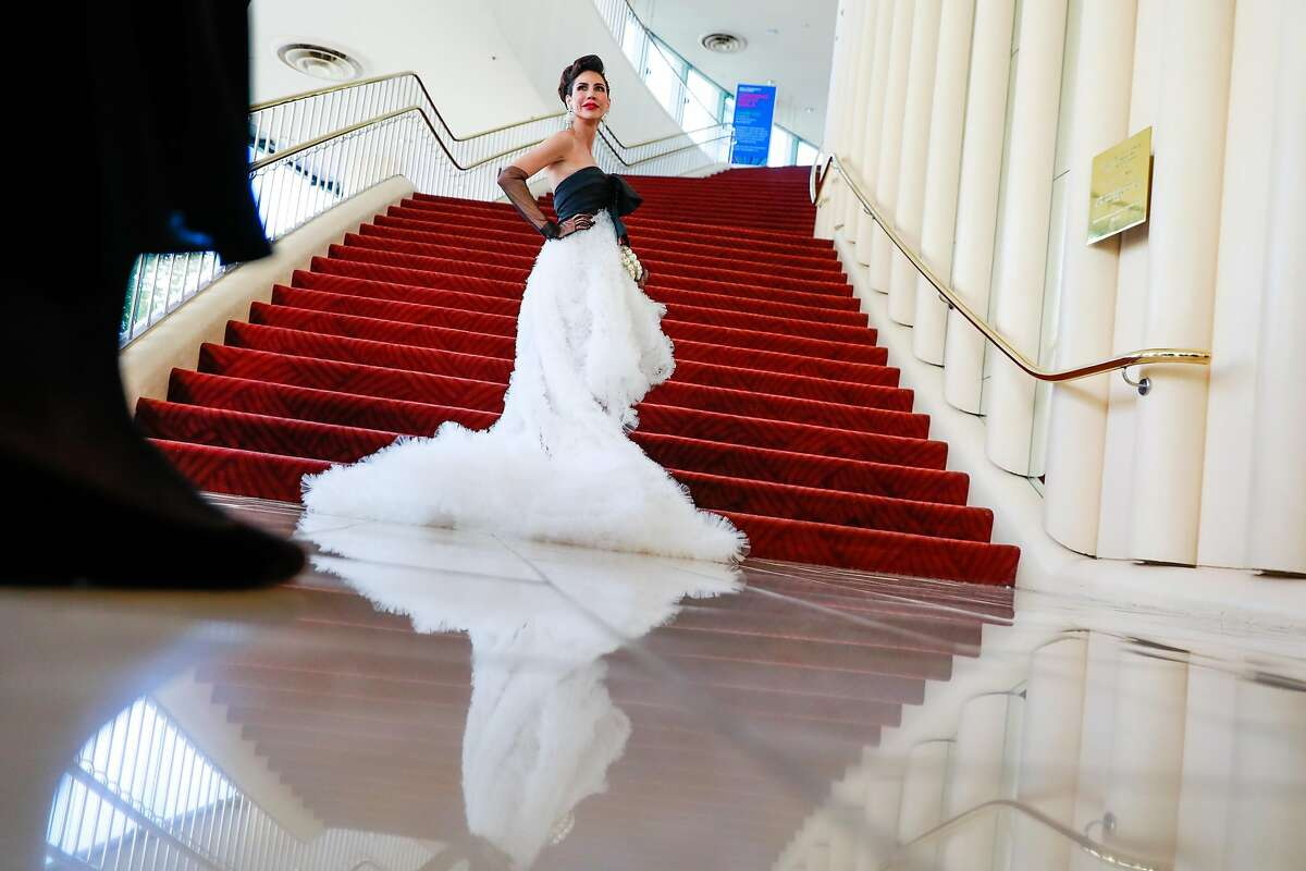 Nicole Lacob shows off her dress at the 2019 SF Symphony Gala in San Francisco, California, on Wednesday, Sept. 4, 2019.